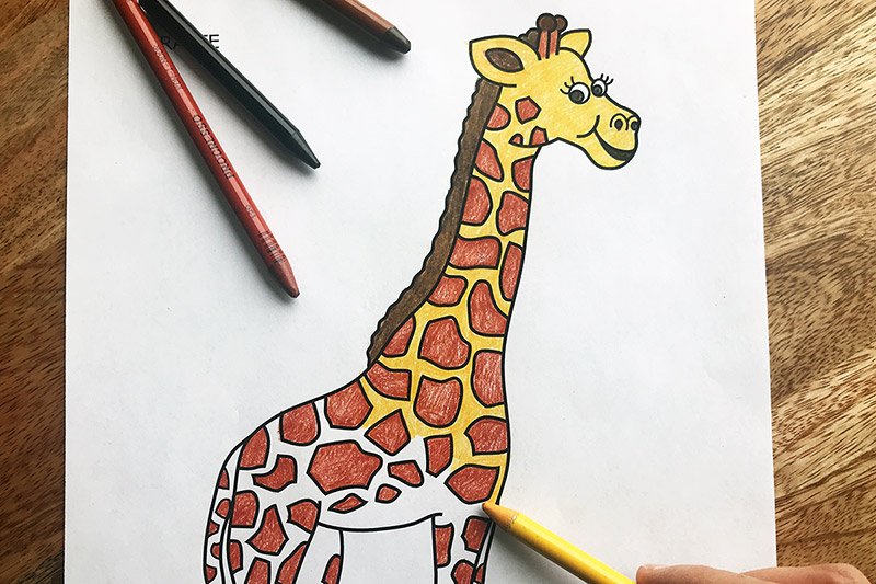 Giraffe Coloring Page Craft