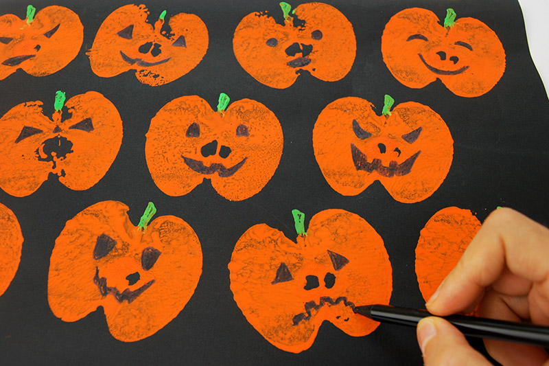 Apple Print Pumpkins craft