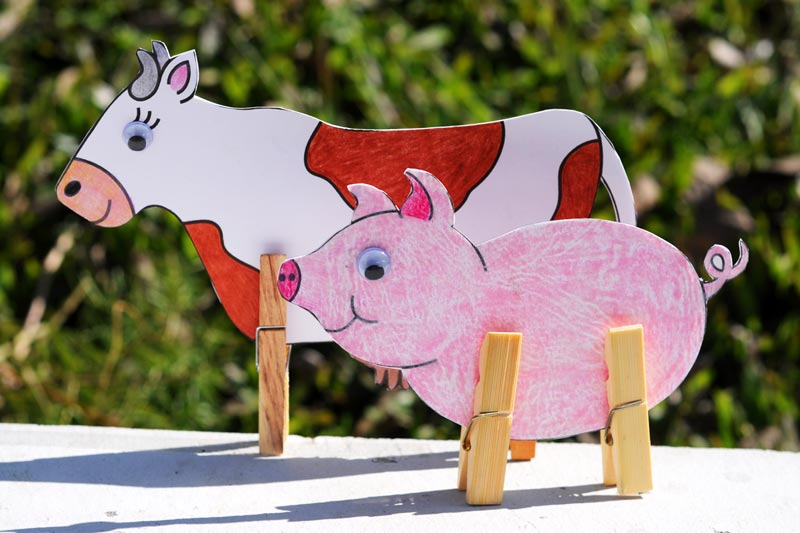 Clothespin Farm Animals Kids Crafts Fun Craft Ideas