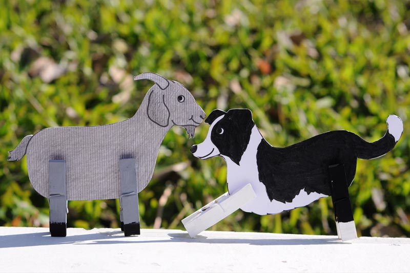 Clothespin Farm Animals - Goat and Dog
