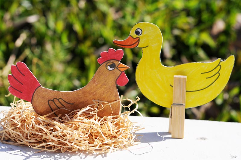 Clothespin Farm Animals - Duck and Chicken