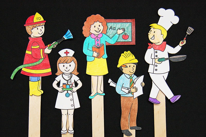 Community Helper Stick Puppets craft