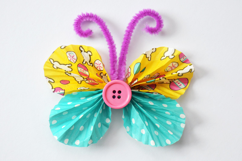 Cupcake Liner Butterfly with Button