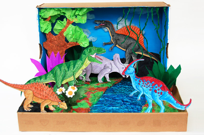 photograph about Diorama Backgrounds Free Printable identify Dinosaur Diorama Small children Crafts Enjoyment Craft Tips