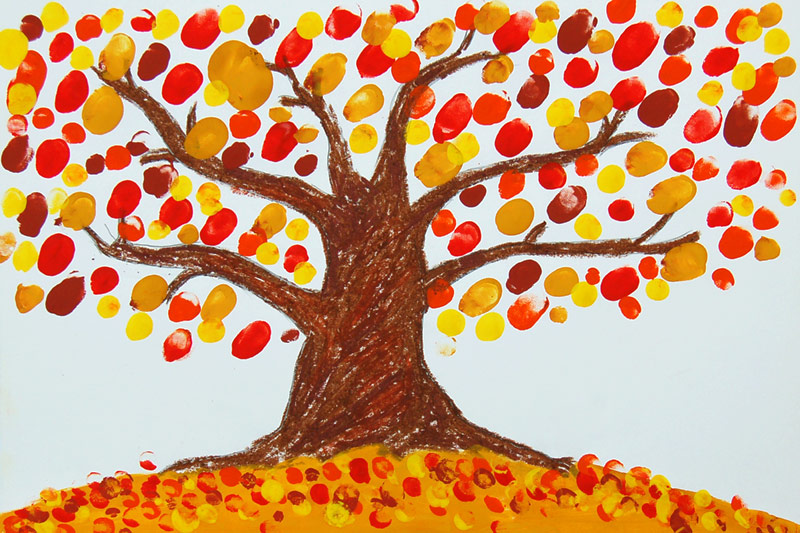 Fingerpaint Fall Tree Kids Crafts Fun Craft Ideas