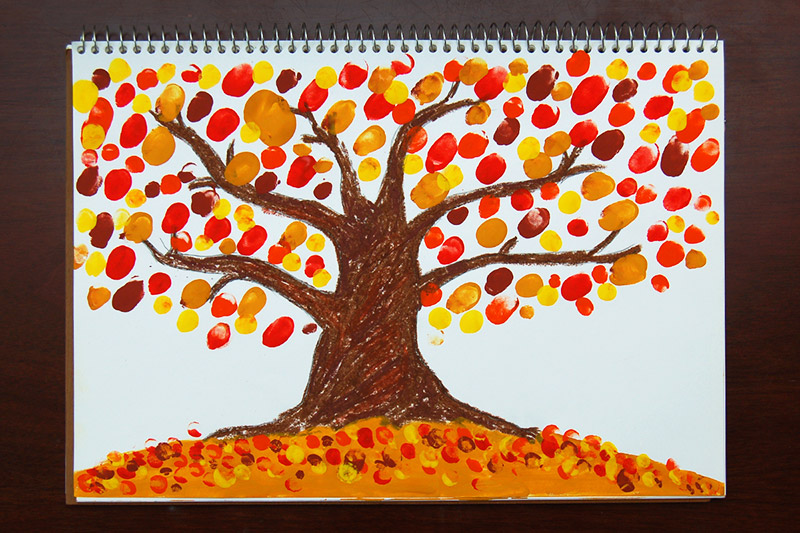 Fingerpaint Fall Tree craft