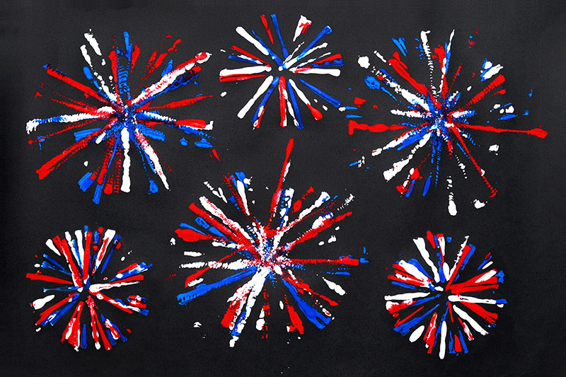 Firework Printing Craft - Fourth of July