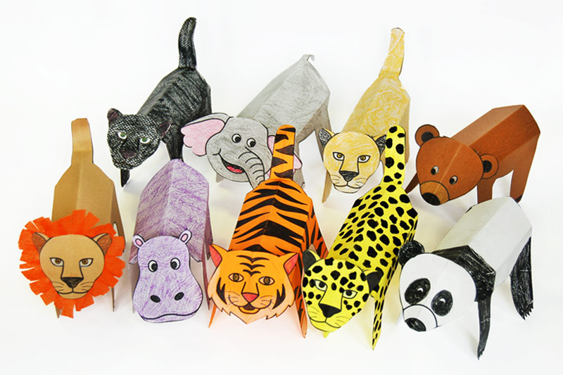 Folding Paper Zoo Animals