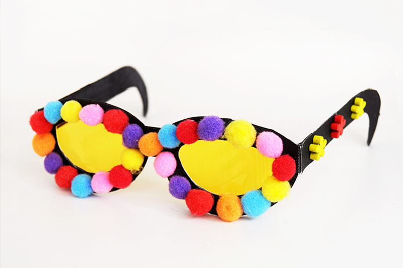 Paper Eyeglasses - with Pompoms