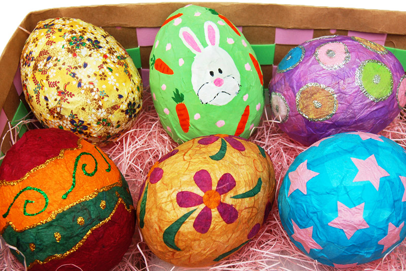 How to make paper mache large eggs