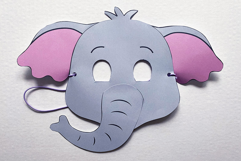 This is an image of Elephant Mask Printable pertaining to face