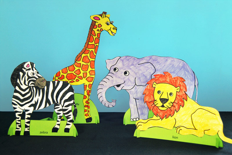 Standing Paper Animals Kids Crafts Fun Craft Ideas