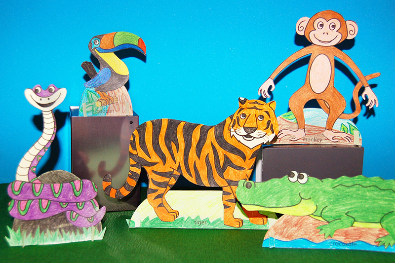 Standing Paper Jungle Animals craft