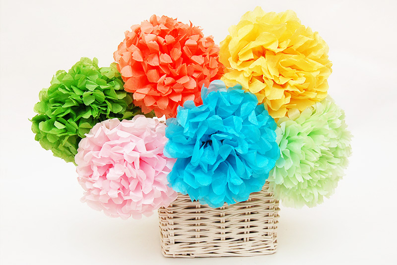 Tissue Paper Pom Pom Flowers Kids Crafts Fun Craft Ideas