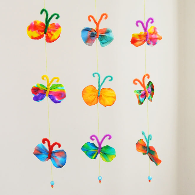 MORE IDEAS - Make a butterfly mobile.