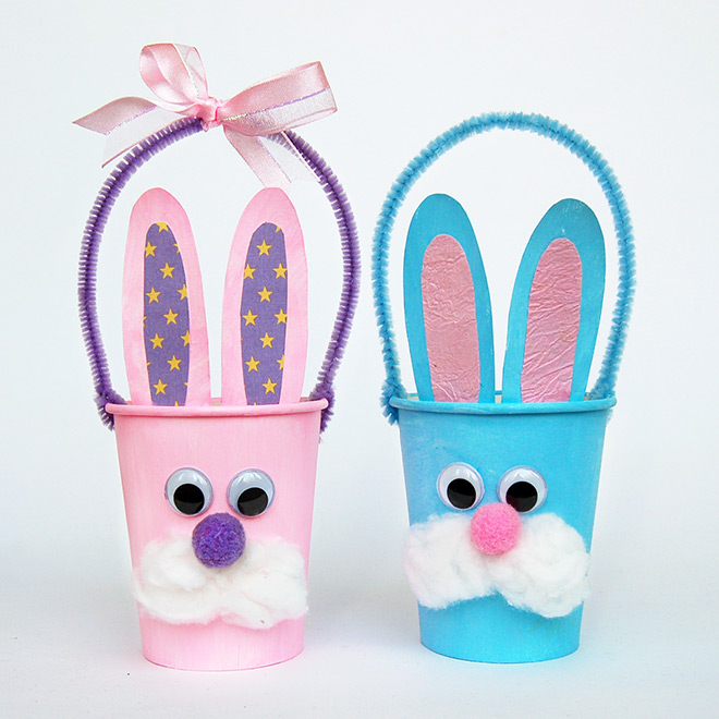 Paper Cup Bunny Basket - Pink and Blue