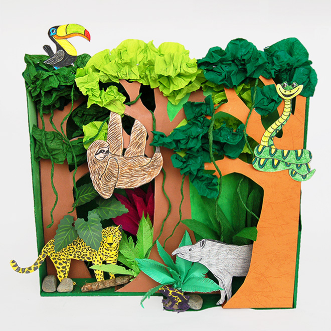 picture about Diorama Backgrounds Free Printable called Rainforest Habitat Diorama Children Crafts Entertaining Craft Options