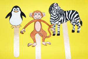 Zoo Animal Stick Puppets