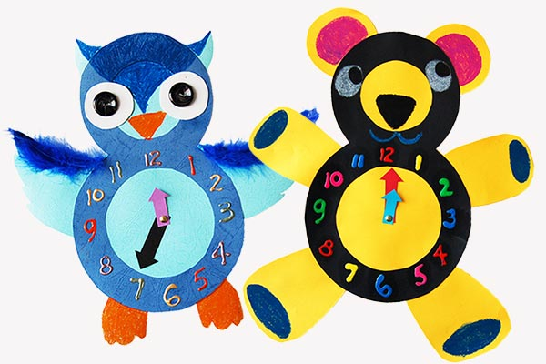 Animal Paper Clocks craft