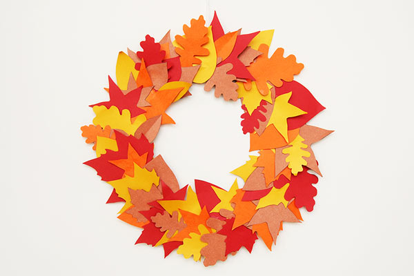MORE IDEAS - Craft a leaf wreath.