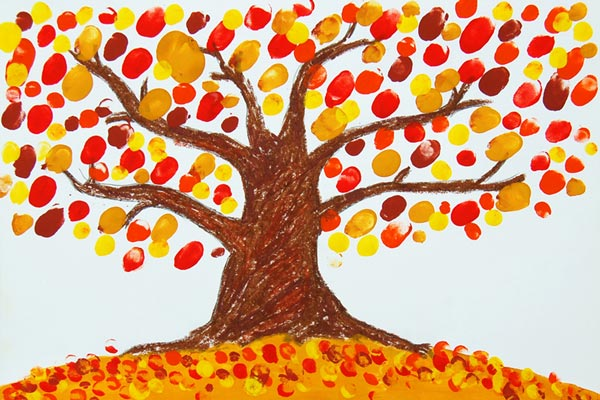 Fingerpaint Fall Tree