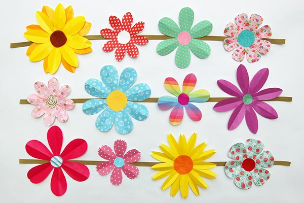 Folding Paper Flowers 8 Petals Kids Crafts Fun Craft Ideas