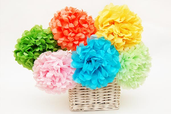 Tissue Paper Pom-pom Flowers craft
