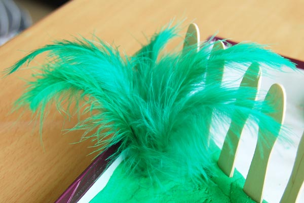 Make ferns out of feathers.