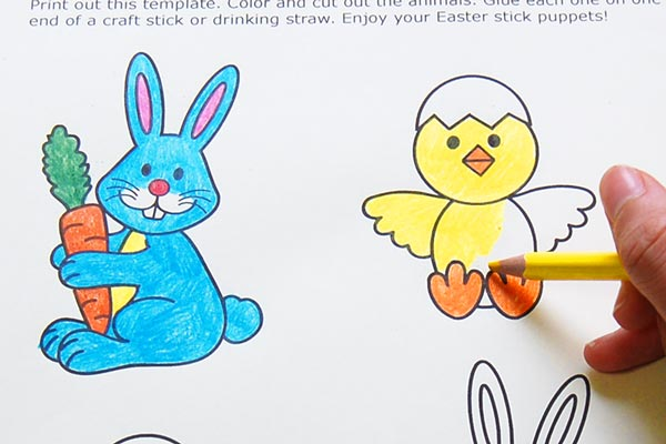 STEP 2 Bunny and Chick Stick Puppets
