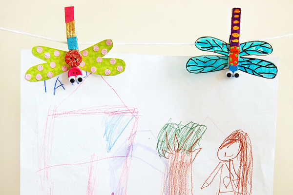 MORE IDEAS - Use the dragonflies to hold artwork and photos.