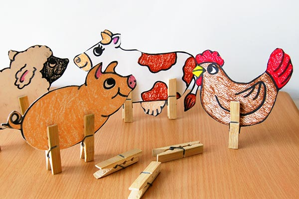 Step 5 Clothespin Farm Animals