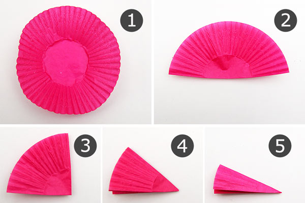 MORE IDEAS - Fold the cupcake liner into a wedge.