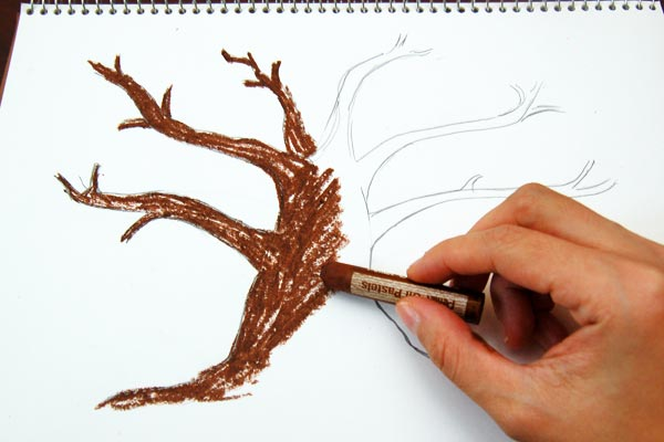 STEP 1 Fingerpaint Fall Tree