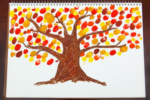 STEP 4 Fingerpaint Fall Tree