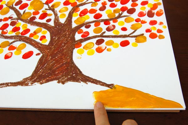 STEP 5 Fingerpaint Fall Tree