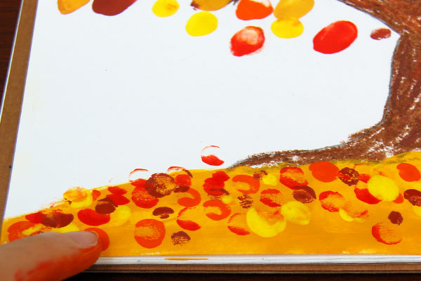 STEP 6 Fingerpaint Fall Tree