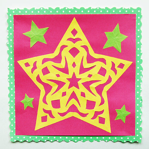 MORE IDEAS - Make a paper cut star (Step 3).