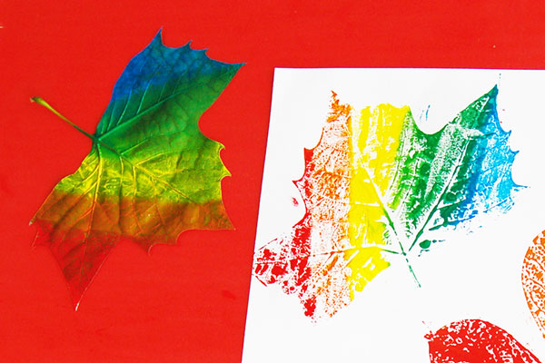 MORE IDEAS - Make a multi-colored leaf print.