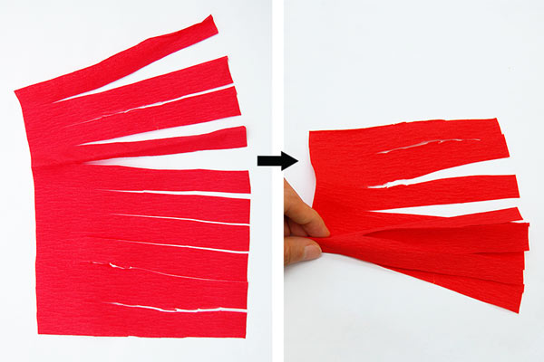 MORE IDEAS - Make a crepe paper crest (Step 1).