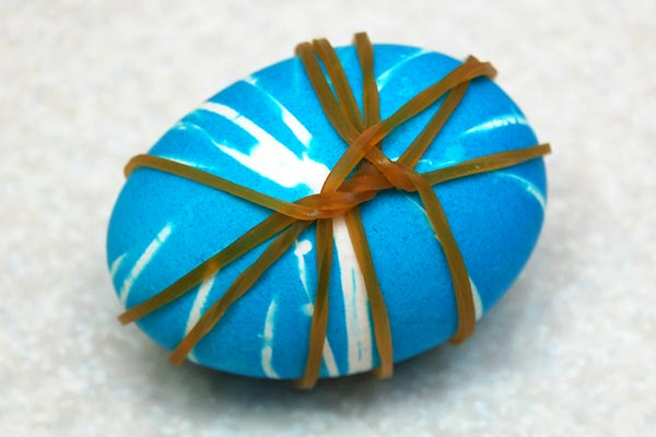 STEP 11 Rubber Band Dyed Easter Eggs