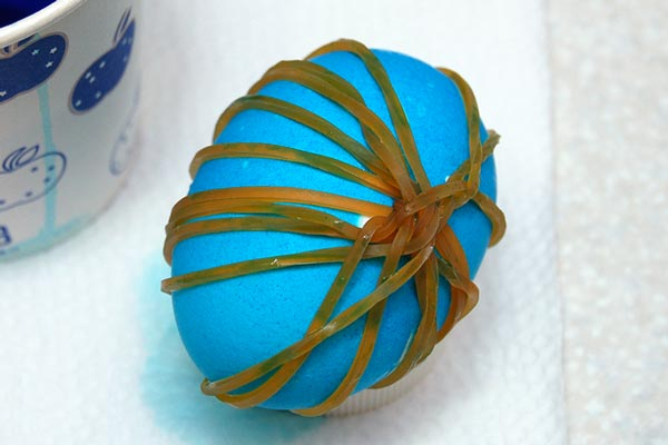 STEP 9 Rubber Band Dyed Easter Eggs