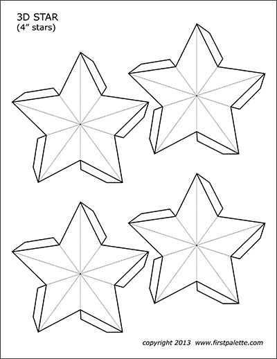 picture regarding Stars Printable Template named 3D Star Templates Cost-free Printable Templates Coloring