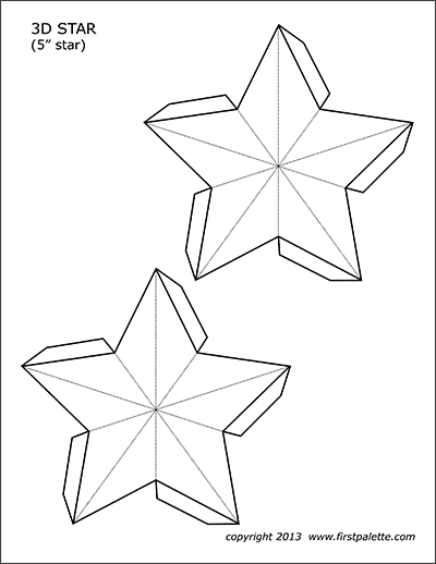 Printable 5-inch 3D Star Template