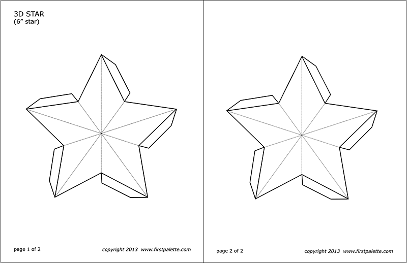 Printable 6-inch 3D Star Template