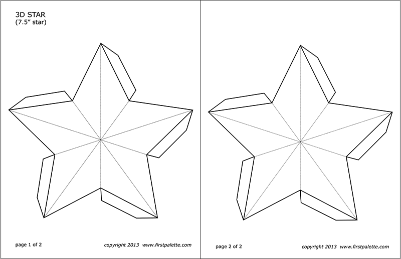 Printable 7.5-inch 3D Star Template