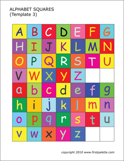 Printable Colored Alphabet Letter Squares