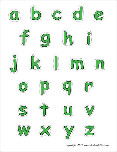 Printable Green Alphabet Lower Case Letters