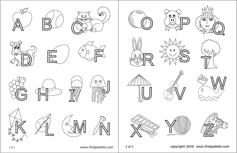 Printable Alphabet Letters Interlaced with Objects