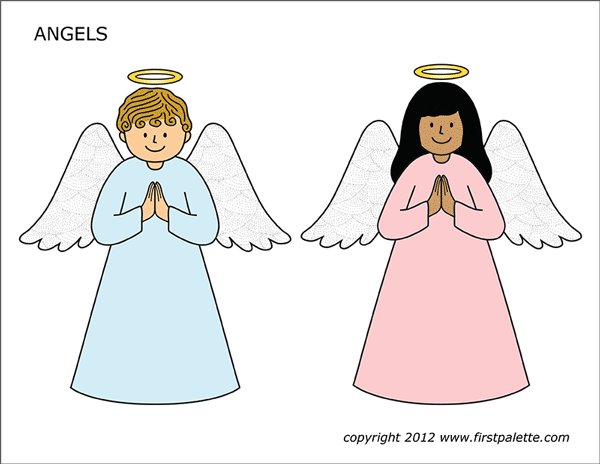Printable Colored Angels - Set 1
