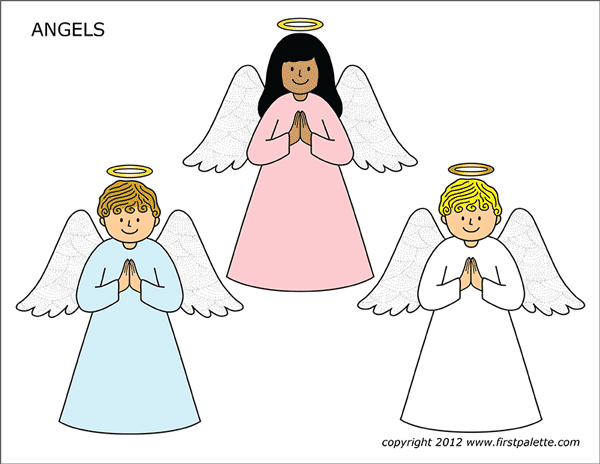 Printable Colored Angels - Set 2